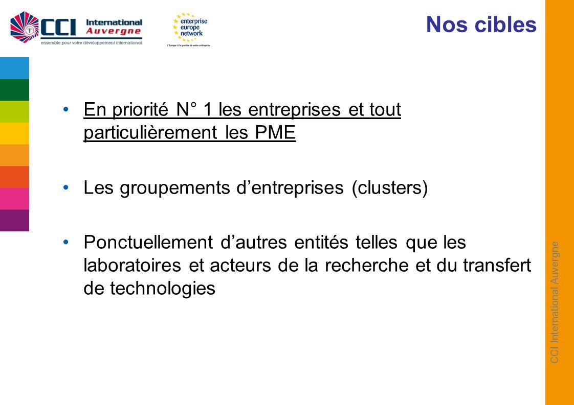 CCI International Auvergne En priorité N° 1 les entreprises et tout particulièrement les PME Les groupements dentreprises (clusters) Ponctuellement dautres entités telles que les laboratoires et acteurs de la recherche et du transfert de technologies Nos cibles
