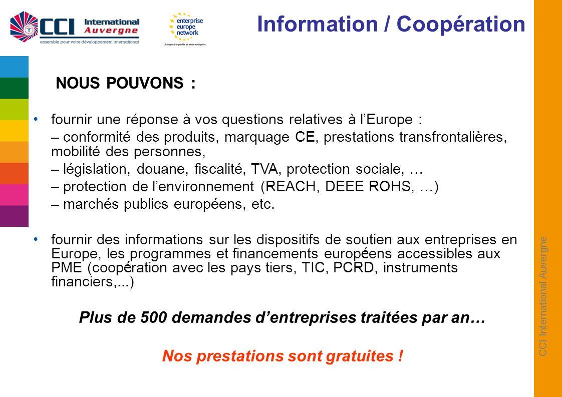 CCI International Auvergne NOUS POUVONS : fournir une réponse à vos questions relatives à lEurope : – conformité des produits, marquage CE, prestation