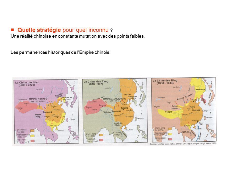 Quelle stratégie pour quel inconnu ? Une réalité chinoise en constante mutation avec des points faibles. Les permanences historiques de lEmpire chinoi