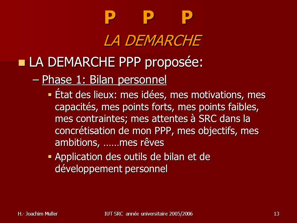 H.- Joachim MullerIUT SRC année universitaire 2005/200613 P P P LA DEMARCHE LA DEMARCHE PPP proposée: LA DEMARCHE PPP proposée: –Phase 1: Bilan person