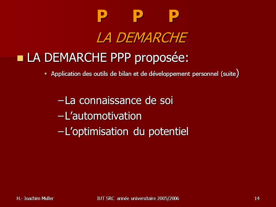 H.- Joachim MullerIUT SRC année universitaire 2005/200614 P P P LA DEMARCHE LA DEMARCHE PPP proposée: LA DEMARCHE PPP proposée: Application des outils