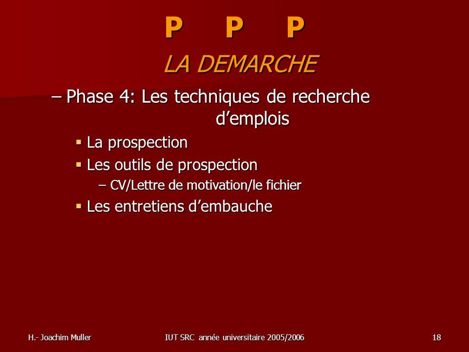 H.- Joachim MullerIUT SRC année universitaire 2005/200618 P P P LA DEMARCHE –Phase 4: Les techniques de recherche demplois La prospection La prospecti