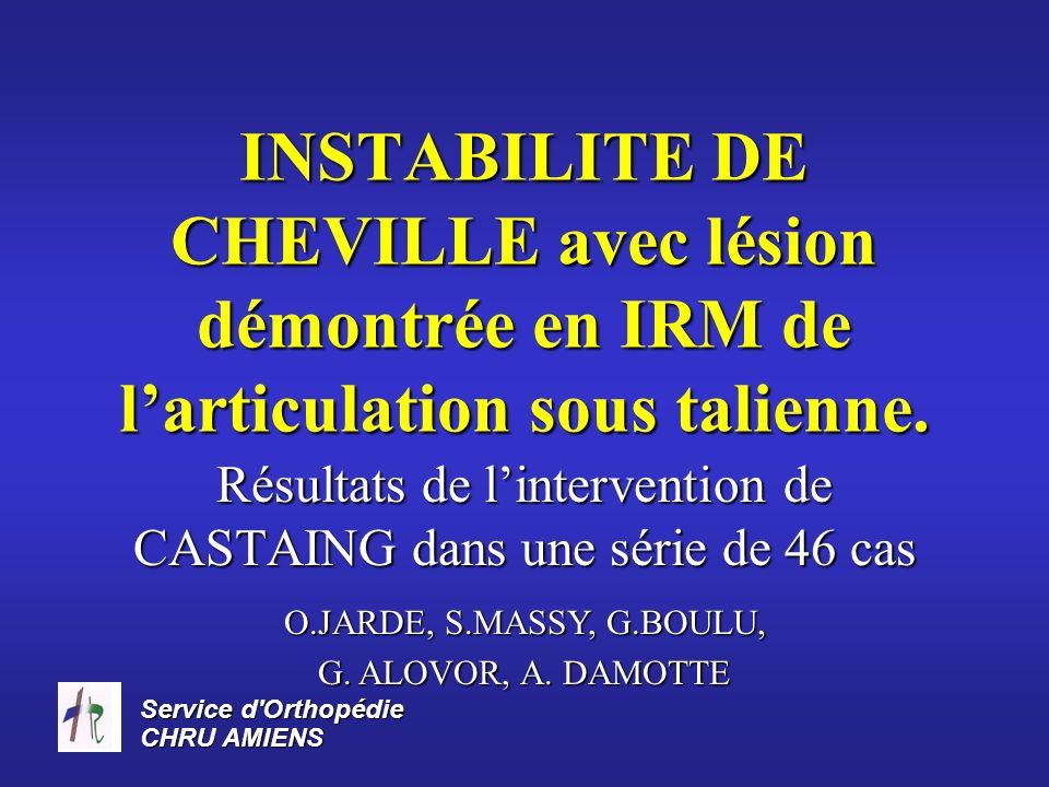 Service d'Orthopédie CHRU AMIENS INSTABILITE DE CHEVILLE avec lésion démontrée en IRM de larticulation sous talienne. Résultats de lintervention de CA