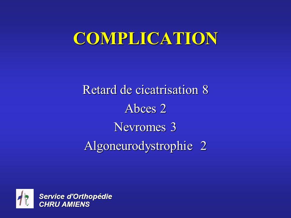 Service d Orthopédie CHRU AMIENS RESULTATS Recul moyen 5,7 ans Indolence Stabilité 29 patients 37 patients Oedeme 9 patients 9 patients Cicatrice dysesthesique 8 patients 8 patients