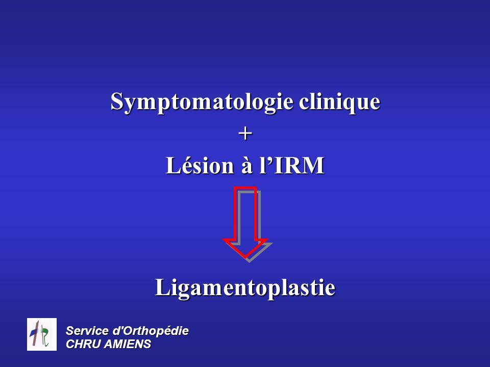 Service d'Orthopédie CHRU AMIENS Symptomatologie clinique + Lésion à lIRM Ligamentoplastie