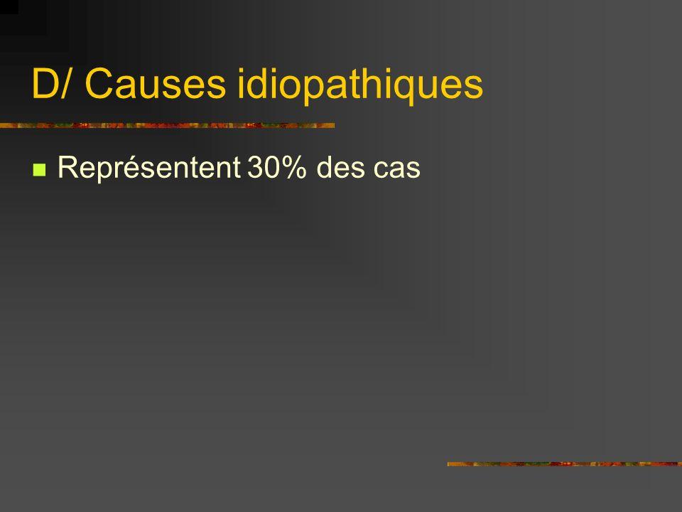 D/ Causes idiopathiques Représentent 30% des cas