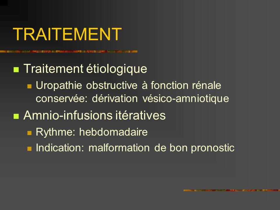 TRAITEMENT Traitement étiologique Uropathie obstructive à fonction rénale conservée: dérivation vésico-amniotique Amnio-infusions itératives Rythme: h