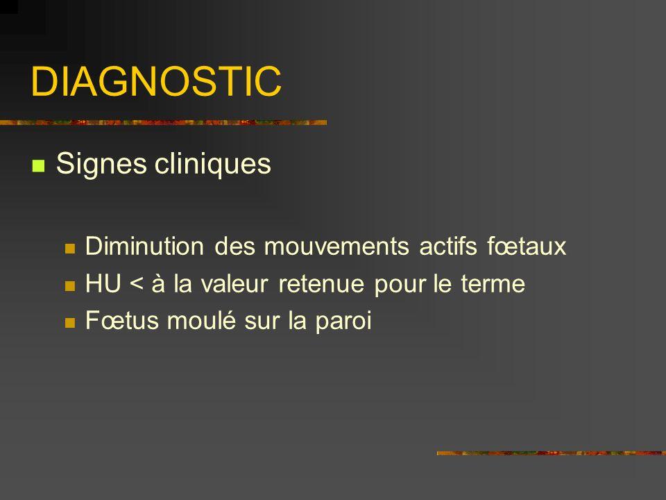 DIAGNOSTIC Signes cliniques Diminution des mouvements actifs fœtaux HU < à la valeur retenue pour le terme Fœtus moulé sur la paroi