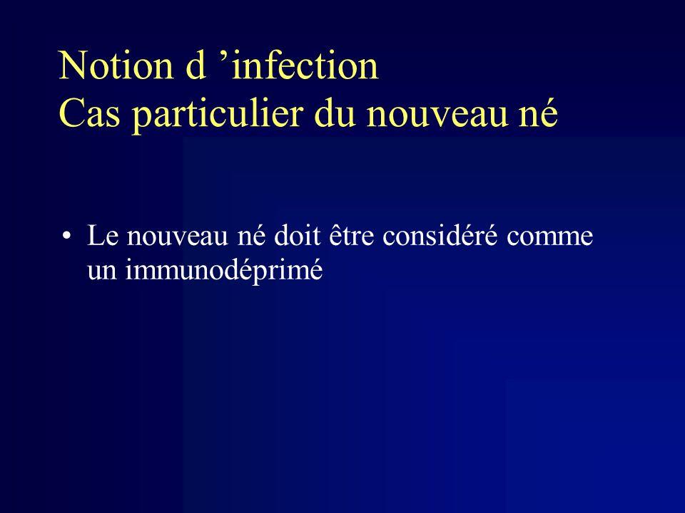 Notion d infection Cas particulier du nouveau né Le nouveau né doit être considéré comme un immunodéprimé