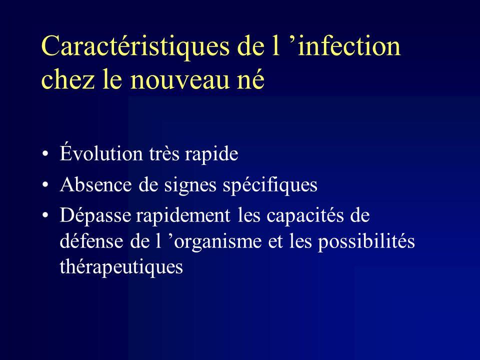 Caractéristiques de l infection chez le nouveau né Évolution très rapide Absence de signes spécifiques Dépasse rapidement les capacités de défense de