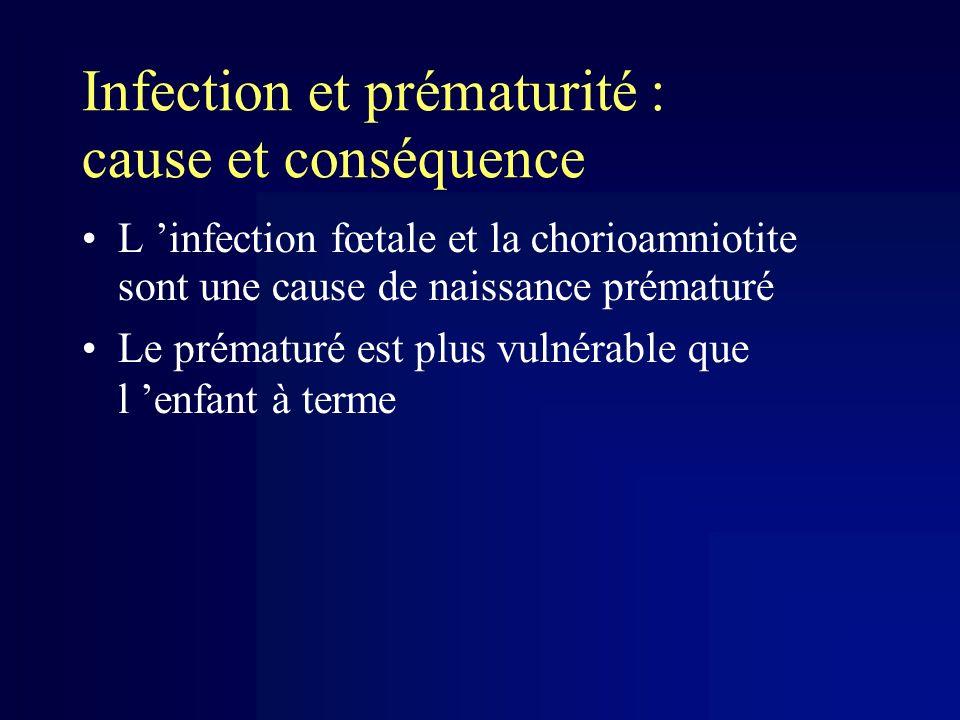 Infection et prématurité : cause et conséquence L infection fœtale et la chorioamniotite sont une cause de naissance prématuré Le prématuré est plus v