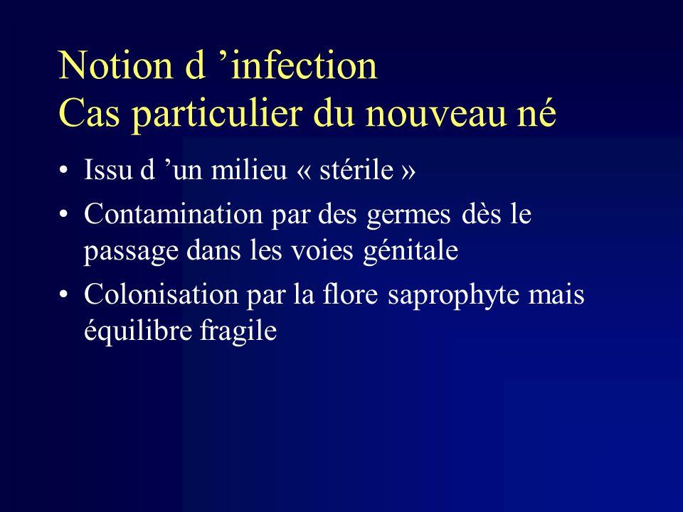 Notion d infection Cas particulier du nouveau né Issu d un milieu « stérile » Contamination par des germes dès le passage dans les voies génitale Colo