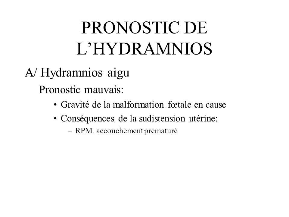PRONOSTIC DE LHYDRAMNIOS A/ Hydramnios aigu Pronostic mauvais: Gravité de la malformation fœtale en cause Conséquences de la sudistension utérine: –RP
