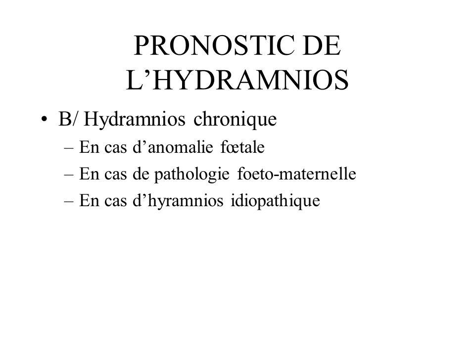 PRONOSTIC DE LHYDRAMNIOS B/ Hydramnios chronique –En cas danomalie fœtale –En cas de pathologie foeto-maternelle –En cas dhyramnios idiopathique