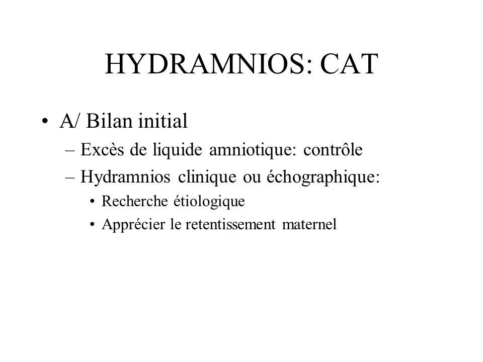 HYDRAMNIOS: CAT A/ Bilan initial –Excès de liquide amniotique: contrôle –Hydramnios clinique ou échographique: Recherche étiologique Apprécier le rete