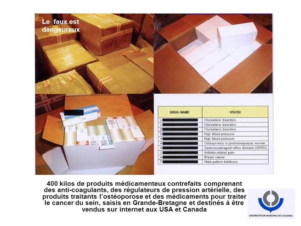 400 kilos de produits médicamenteux contrefaits comprenant des anti-coagulants, des régulateurs de pression artérielle, des produits traitants lostéop