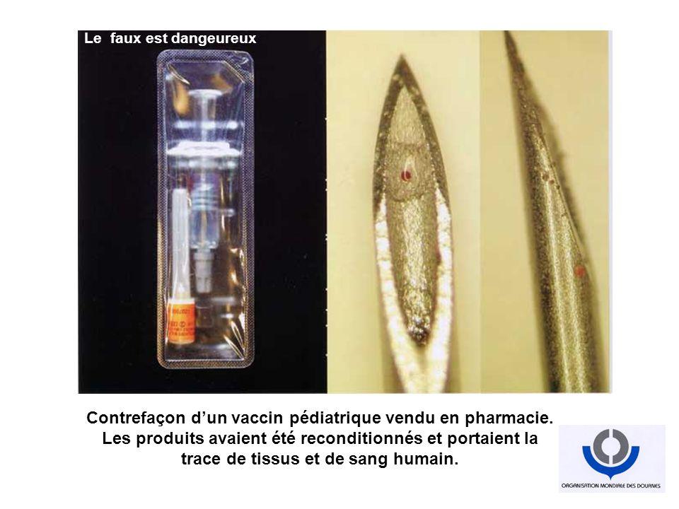 Contrefaçon dun vaccin pédiatrique vendu en pharmacie. Les produits avaient été reconditionnés et portaient la trace de tissus et de sang humain. Indu