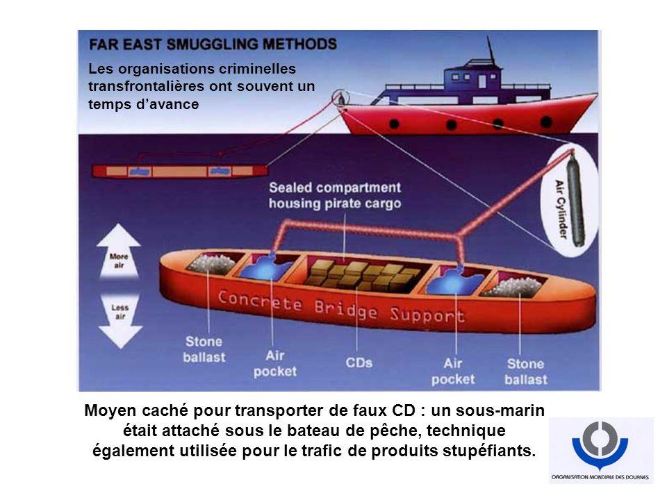 Moyen caché pour transporter de faux CD : un sous-marin était attaché sous le bateau de pêche, technique également utilisée pour le trafic de produits