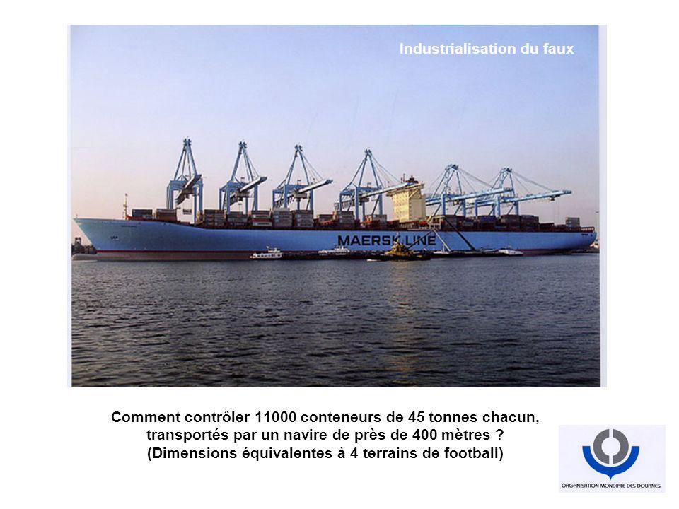 Comment contrôler 11000 conteneurs de 45 tonnes chacun, transportés par un navire de près de 400 mètres ? (Dimensions équivalentes à 4 terrains de foo