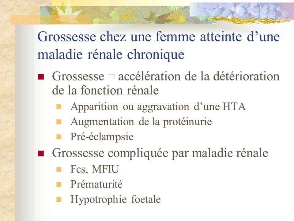 Grossesse et dialyse Fertilité considérablement réduite (?) Grossesses déconseillées Complications maternelles HTA Pronostic vital potentiellement engagé Indication IMG .