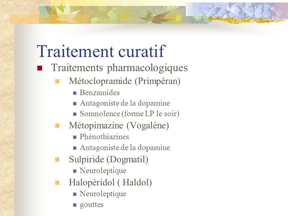 Traitement curatif Traitements pharmacologiques Métoclopramide (Primpéran) Benzamides Antagoniste de la dopamine Somnolence (forme LP le soir) Métopim
