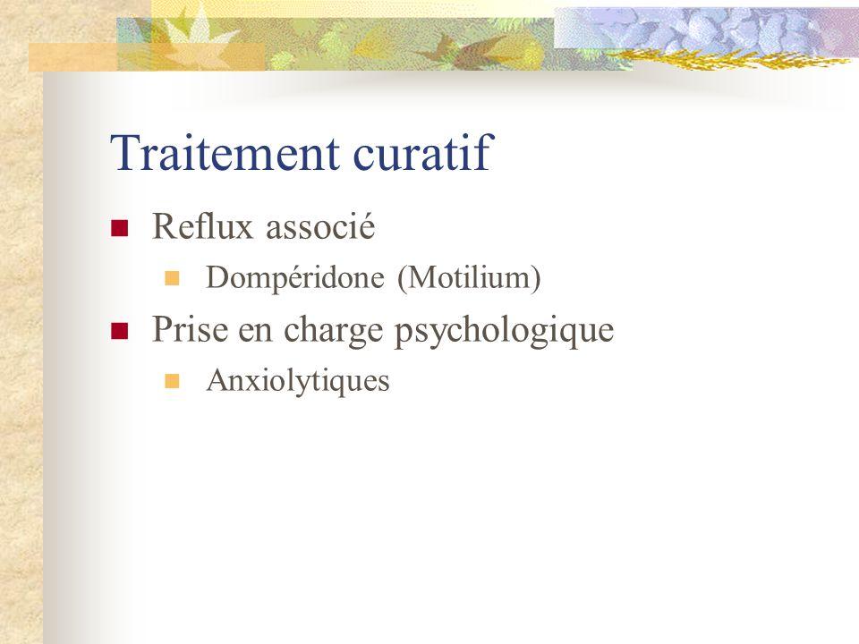 Traitement curatif Reflux associé Dompéridone (Motilium) Prise en charge psychologique Anxiolytiques