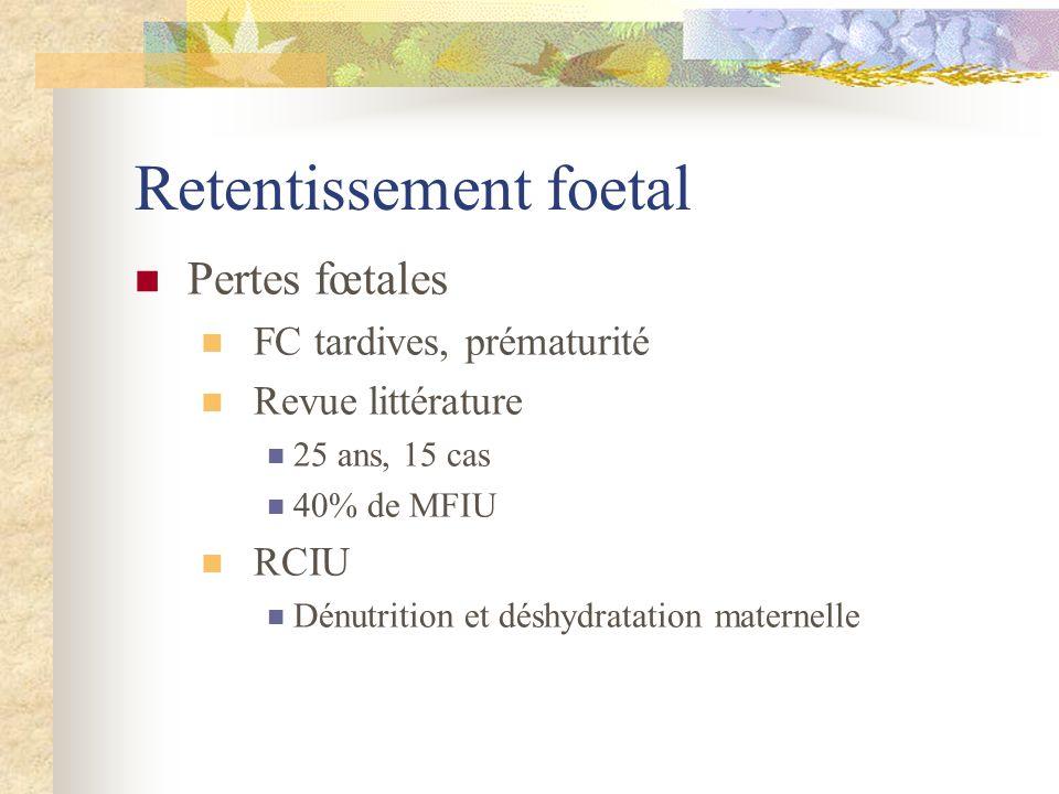 Retentissement foetal Pertes fœtales FC tardives, prématurité Revue littérature 25 ans, 15 cas 40% de MFIU RCIU Dénutrition et déshydratation maternel