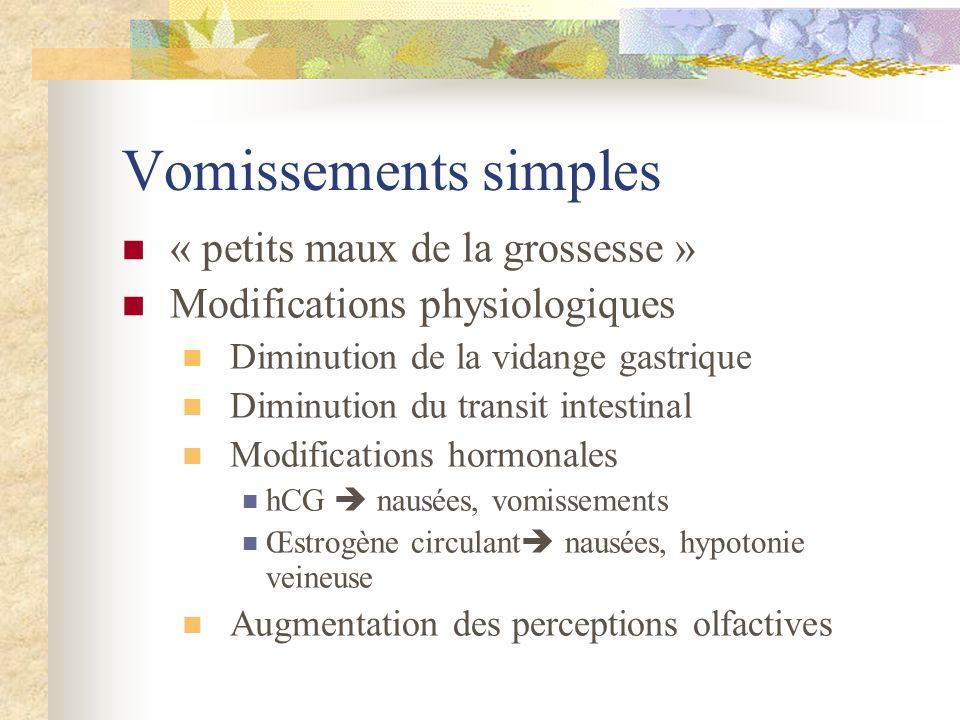 Vomissements simples « petits maux de la grossesse » Modifications physiologiques Diminution de la vidange gastrique Diminution du transit intestinal