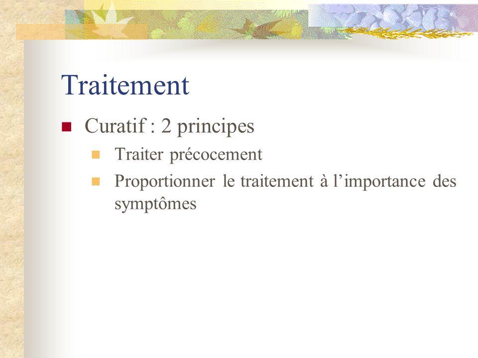 Traitement Curatif : 2 principes Traiter précocement Proportionner le traitement à limportance des symptômes