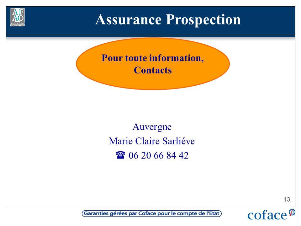 13 Auvergne Marie Claire Sarliéve 06 20 66 84 42 Pour toute information, Contacts Assurance Prospection