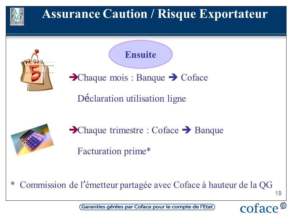 19 Chaque mois : Banque Coface D é claration utilisation ligne Chaque trimestre : Coface Banque Facturation prime* Ensuite Assurance Caution / Risque
