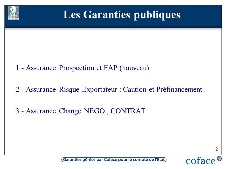 2 1 - Assurance Prospection et FAP (nouveau) 2 - Assurance Risque Exportateur : Caution et Préfinancement 3 - Assurance Change NEGO, CONTRAT Les Garan