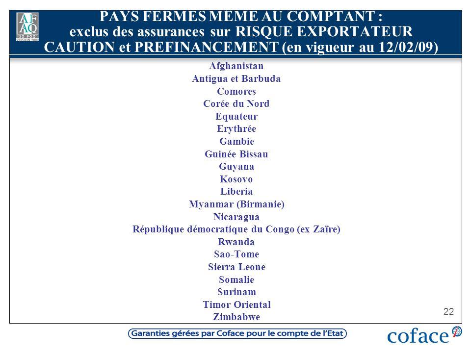 22 PAYS FERMES MÊME AU COMPTANT : exclus des assurances sur RISQUE EXPORTATEUR CAUTION et PREFINANCEMENT (en vigueur au 12/02/09) Afghanistan Antigua