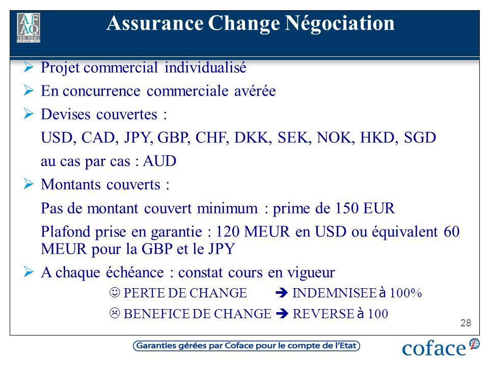 28 Projet commercial individualisé En concurrence commerciale avérée Devises couvertes : USD, CAD, JPY, GBP, CHF, DKK, SEK, NOK, HKD, SGD au cas par c