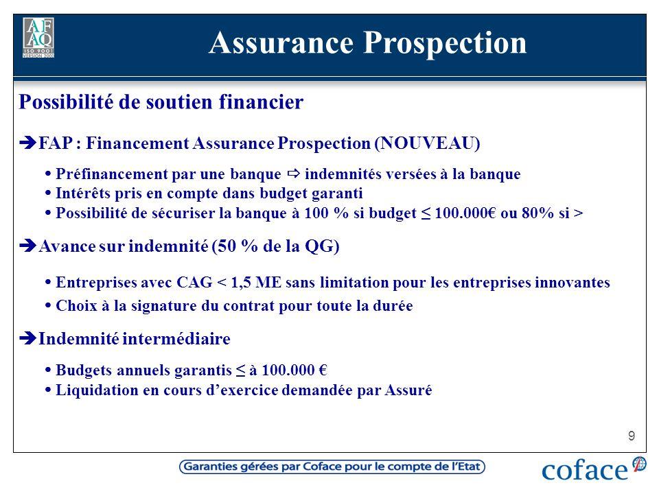 9 Possibilité de soutien financier FAP : Financement Assurance Prospection (NOUVEAU) Préfinancement par une banque indemnités versées à la banque Inté