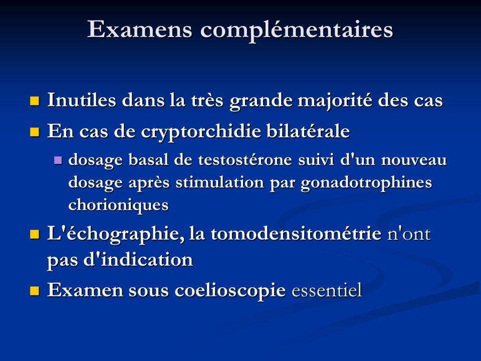 Examens complémentaires Inutiles dans la très grande majorité des cas Inutiles dans la très grande majorité des cas En cas de cryptorchidie bilatérale