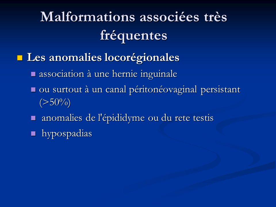 Malformations associées très fréquentes Les anomalies locorégionales Les anomalies locorégionales association à une hernie inguinale association à une