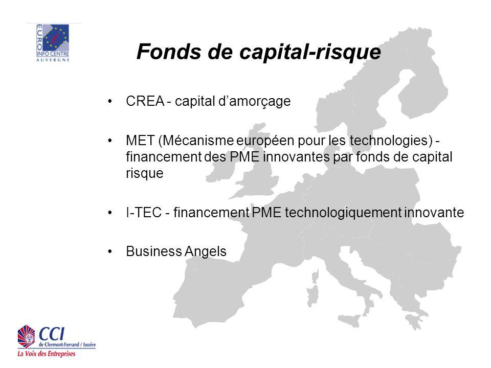 Fonds de capital-risque CREA - capital damorçage MET (Mécanisme européen pour les technologies) - financement des PME innovantes par fonds de capital risque I-TEC - financement PME technologiquement innovante Business Angels