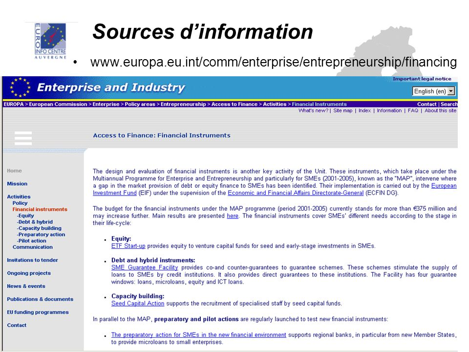 Sources dinformation www.europa.eu.int/comm/enterprise/entrepreneurship/financing