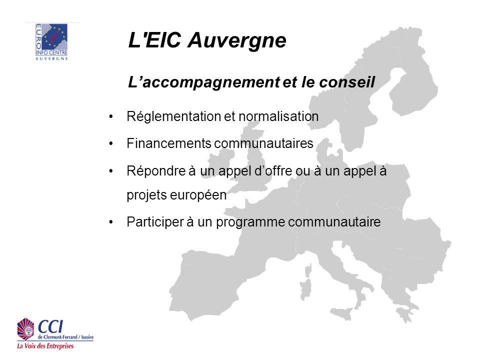 L EIC Auvergne Laccompagnement et le conseil Réglementation et normalisation Financements communautaires Répondre à un appel doffre ou à un appel à projets européen Participer à un programme communautaire