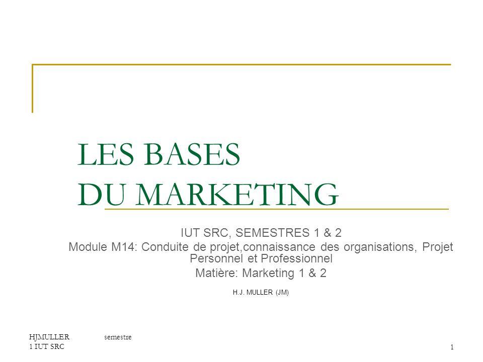 HJMULLER semestre 1 IUT SRC12 LES BASES DU MARKETING I LE MARKETING STRATEGIQUE 6.