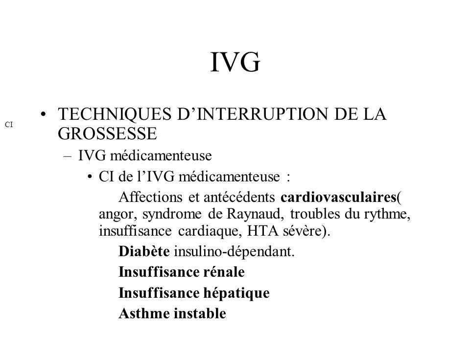 IVG TECHNIQUES DINTERRUPTION DE LA GROSSESSE –IVG médicamenteuse CI de lIVG médicamenteuse : Affections et antécédents cardiovasculaires( angor, syndr