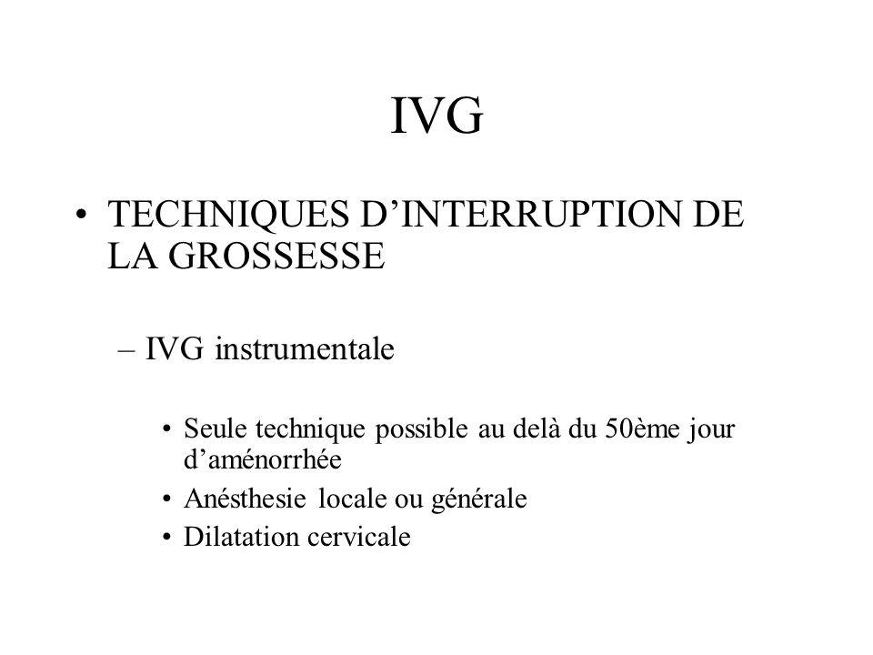 IVG TECHNIQUES DINTERRUPTION DE LA GROSSESSE –IVG instrumentale Seule technique possible au delà du 50ème jour daménorrhée Anésthesie locale ou généra