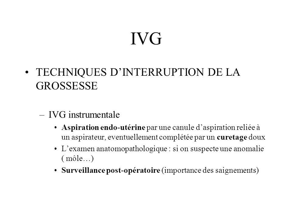 IVG TECHNIQUES DINTERRUPTION DE LA GROSSESSE –IVG instrumentale Aspiration endo-utérine par une canule daspiration reliée à un aspirateur, eventuellem