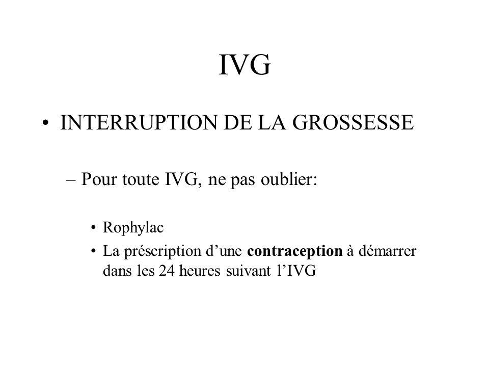 IVG INTERRUPTION DE LA GROSSESSE –Pour toute IVG, ne pas oublier: Rophylac La préscription dune contraception à démarrer dans les 24 heures suivant lI