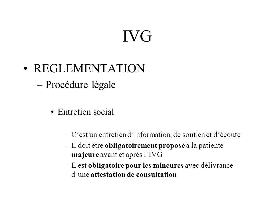 IVG REGLEMENTATION –Procédure légale Entretien social –Cest un entretien dinformation, de soutien et découte –Il doit être obligatoirement proposé à l