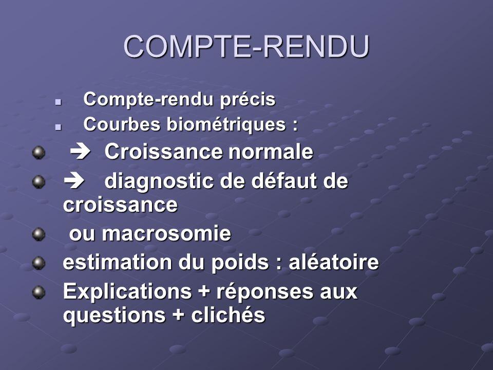 COMPTE-RENDU Compte-rendu précis Compte-rendu précis Courbes biométriques : Courbes biométriques : Croissance normale Croissance normale diagnostic de