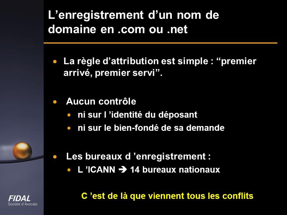 Lenregistrement dun nom de domaine en.com ou.net La règle dattribution est simple : premier arrivé, premier servi. Aucun contrôle ni sur l identité du