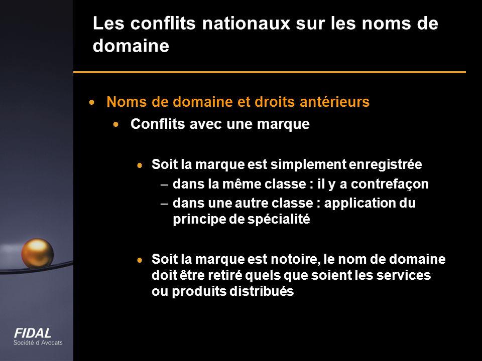 Les conflits nationaux sur les noms de domaine Noms de domaine et droits antérieurs Conflits avec une marque Soit la marque est simplement enregistrée
