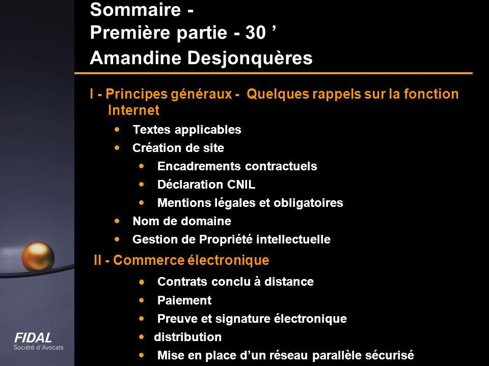 Sommaire - Première partie - 30 Amandine Desjonquères I - Principes généraux - Quelques rappels sur la fonction Internet Textes applicables Création d